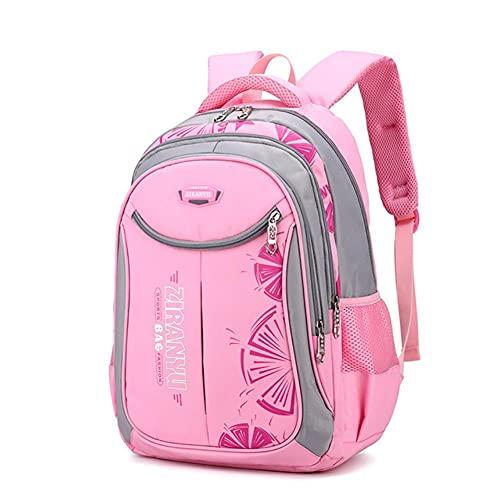 UKKD Mochila para niños Bolsos De La Escuela Para Niños Y Niñas Adolescentes, Bolsas Escolares Para Niños, Mochilas De Gran Capacidad Para Estudiantes, Bolsas De Hombro Impermeables-Pink