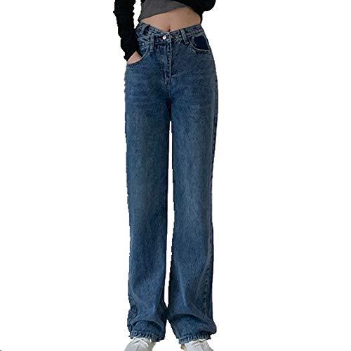 N\P Pantalones sueltos de pierna ancha para mujer azul L