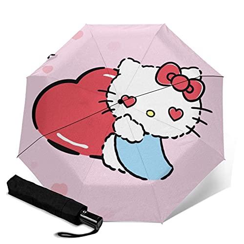 Hello Ki-tty Paraguas automático de tres pliegues paraguas de viaje portátil con asa para adultos y niños unisex