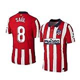 Y-shop Camiseta Saul Atletico De Madrid Rojo,Camiseta Saul 2020/21 para Hombre & Niño(Rojo,16)