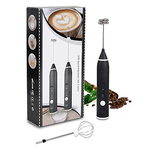 Innoo Tech 2-in-1 Electric Milk Frother Handheld Foam Maker Balloon Whisk with Multiple Speeds Perfectly Whipping Egg Whites Cream Frothing Milk for Latte Cappuccino Flat White Hot Chocolate