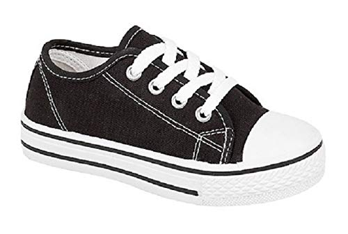 Inspire Me Children's Boys' Girls' Canvas Casual Shoes Pumps Trainers Unisex Sport Shoes Lace Up Fastening Synthetic Material for Everyday Use (Black, Numeric_3)