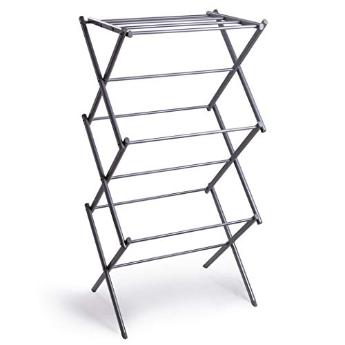 BINO 3-Tier Collapsing Foldable Laundry Drying Rack Silver