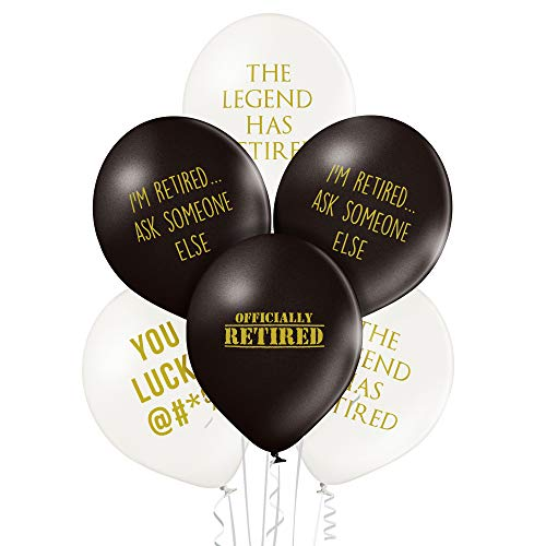 Pack of 12 Black Retirement Funny Balloons