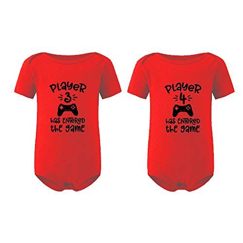 culbutomind Baby Body Zwillinge 2 Set Spieler 3 Spieler 4 Baby Geschenke Geburt Erstausstattung(Rot, 0-3 Monat)