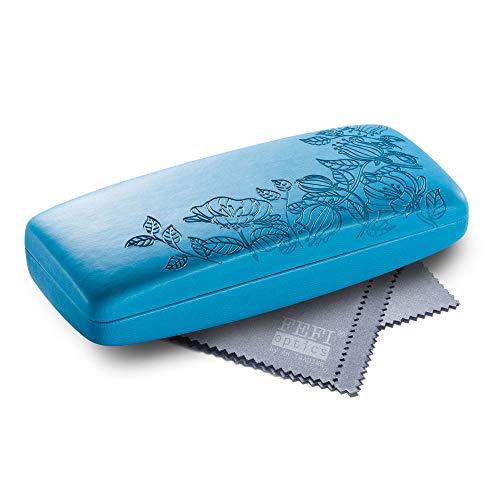 FEFI FEFI - Hardcase Brillenetui im geprägten Blumen-Design - inklusive Brillenputztuch/Microfasertuch (Blau)