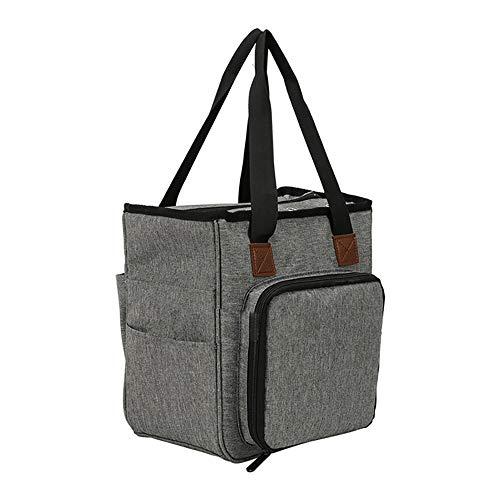 Tragbare Garn-Aufbewahrungstasche, DIY Stricken Häkeln Tote Tasche Organizer für das Tragen von Projekten, Stricknadeln, Häkelnadeln und anderes Zubehör #3982 (grau)