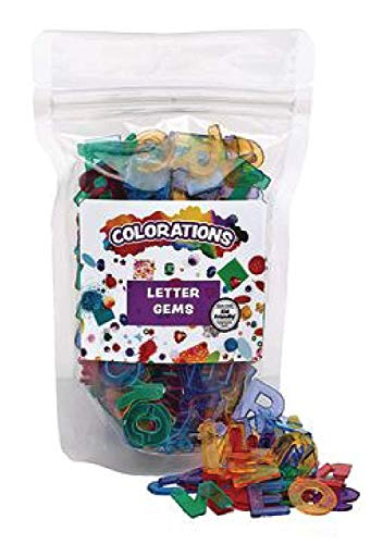 Colorations Plastic Translucent Multi-Color Uppercase Letters, 3/4', 260 Pieces for Decorating Arts & Crafts, Learning, and Light Tables (Item #LETGEM)