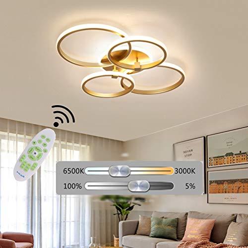 Lampara LED de techo para dormitorio o salon, regulable decor de techo moderna rectangular diseno de anillo dorado con mando a distancia mesa de comedor cocina lampara colgante acrilica cuadrado