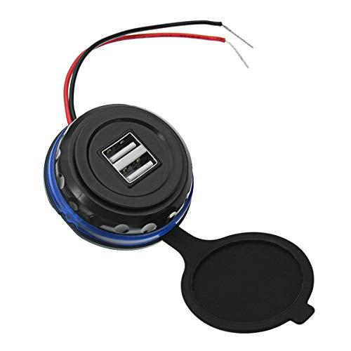 UGUTER Adaptador de Cargador de Coche 12-24V 3.1A Dual USB Cargador de Coche LED indicador J Cargador de Coche (Color : Blue)