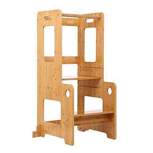 Jian E Taburete para Niños Ayudante De Cocina Pasos De Torre De Altura Ajustable con Riel De Seguridad, Torre De Aprendizaje De Bambú para Niños, 17.5''X15''X35.4 '' (Tamaño : 17.5''x15''x35.4'')