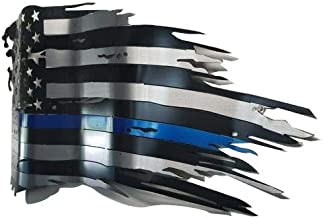 Metal Art of Wisconsin 3 Layered Glossy Coated Painted Blue Line Wavy Weathered Old Glory/Painted Flag| Home Décor | Wall Décor | Wall Sculpture (2 Footer)