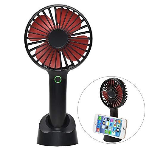 JDfsb Mini-draagbare handventilator, mute-schakeling, met oplaadbare 4-snelheden, USB-ventilator met accu voor buiten, voor op kantoor en thuis