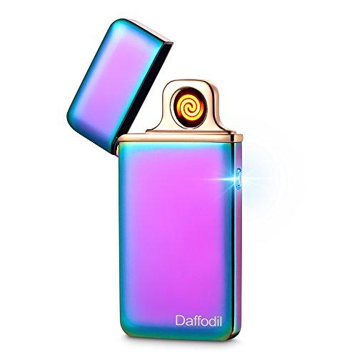 Daffodil Accendino Elettronico Touch Slim EC220 - Accendino Elettrico Senza Fiamma Ricaricabile Via USB con Sensore Touch e Resistenza Sostituibile