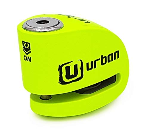 URBAN UR906X Candado Antirrobo Moto Disco Alarma 120 dB, Eje 6 mm Universal, Amarillo Flúor