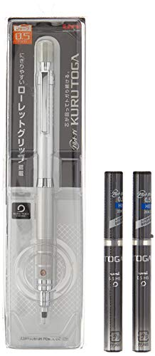Uni Mechanical Pencil Kuru Toga Roulette Model 0.5mm Silver (M510171P.26) 1set + Uni Mechanical Pencil Lead 0.5mm for Kuru Toga HB Black Case (U05203HB.24) 2set (M510171P.26+U05203HB.24)