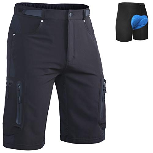 Ally Mens MTB Mountain Bike Short Bicycle Cycling Biking Riding Shorts Cycle Wear Relaxed Loose-fit Black