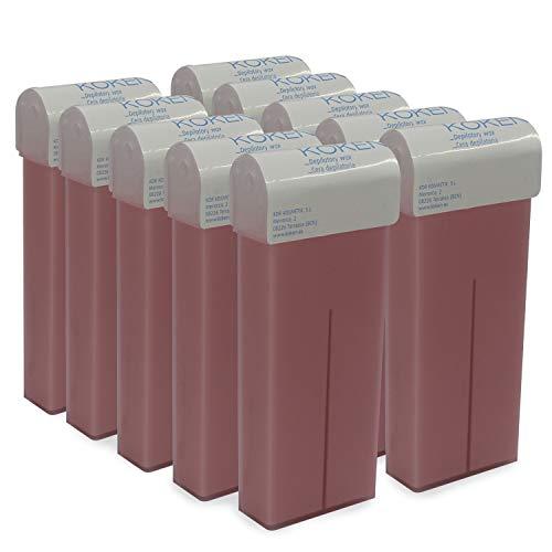 KOKEN - Cera Depilatoria Roll-on 100ml Universal - Pack 10 Cartuchos Rosa (Resinas 100% Españolas)