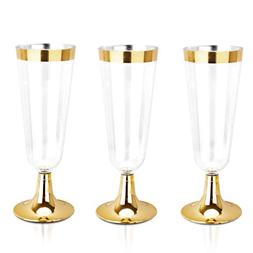 BUCLA 100 Pack Clear Plastic Champagne Flutes With Gold Rim- 5OZ Plastic Champagne Glasses- Premium Quality Clear Plastic Cups-Ideal for Parties& Weddings