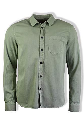 Nudie Jeans Co Henry - Camicia Tinto a pigmenti, Colore: Verde Chiaro Verde XL