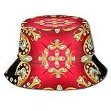 Fondo Patrones Florales Dorados Piedras Preciosas Viaje de Pesca de Verano Sol Gorro de Pescador Empacable Sombrero para el Sol Sombrero de Cubo Sombrero de Pesca