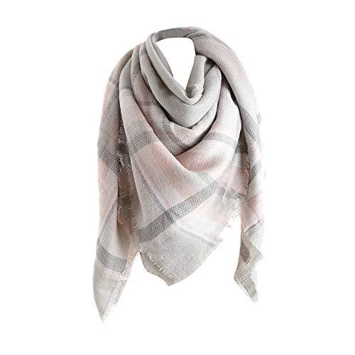 STRIR Mujeres Caliente Mantas Cozy Pashmina Bufanda Larga tartán Enrejado mantón (Blanco)