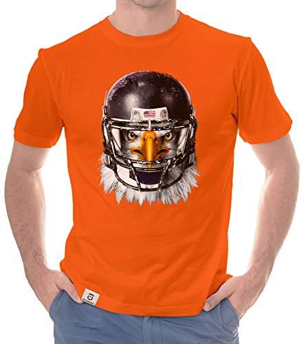 shirtdepartment - Herren Sport Fan-Outfit - Football Eagle - T-Shirt und Hoodie orange-T-Shirt XXXL
