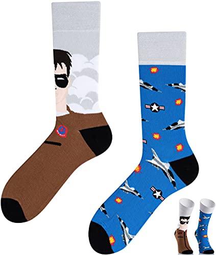 TODO Colours Lustige Socken mit Motiv - mehrfarbige, bunte, Verrückte für Herren und Damen (43-46, Flugzeug Socken)