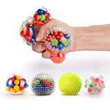 Fansteck 4 Pack Balle Anti-Stress différente, Squishy Ball / Balle de soulagement / Jouet à soulagement du Stress