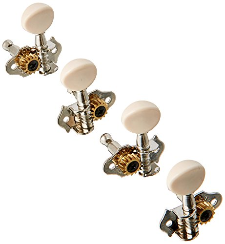 Grover, 9NW, Professional STA-TITE #9 Series Geared Ukulele Pegs, Nickel/White Buttons