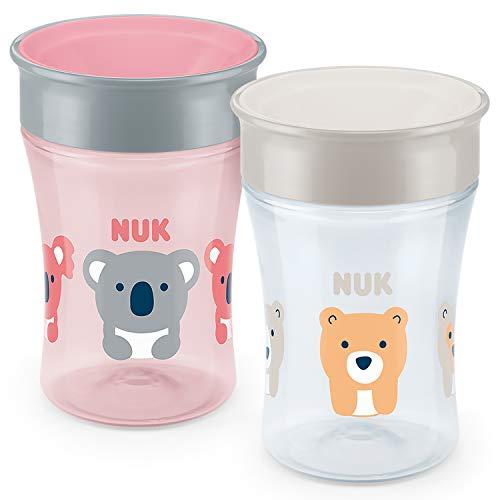 NUK Magic Cup Trinklernbecher 2er-Vorteilspack, 360° Trinkrand, auslaufsicher abdichtende Silikonscheibe, 8+ Monate, BPA-frei, 230 ml, Koala/Bär (rosa/grau)