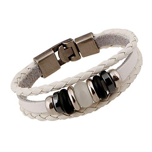 AIUIN 1x Retro Armband Round Beads Damen-Armband Leder geflochten Armband, dekorativ, weiß