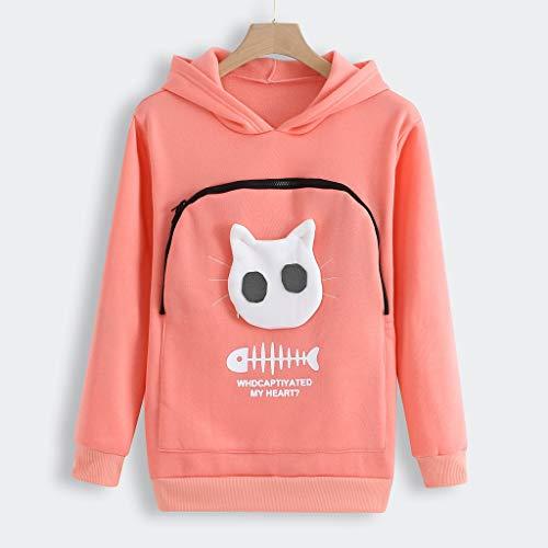 BCDlily Women's Sweatshirt Carry Cat Pouch Hooded Tops Pullover Blouse Big Zipper Pocket Shirt(Pink,XL)