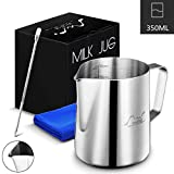Stainless Steel Milk Frothing Pitcher, 12oz/350ml Milk Coffee Cappuccino Latte Art Frothing Pitcher Barista Milk Jug Cup, Measurements on Both Sides Inside Decorating Art Pen & Microfiber Cloth