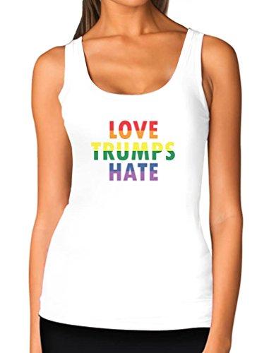 Love Trumps Hate LGBT Tank Gay & Lesbian Pride Anti Trump Women Tank Top Medium White