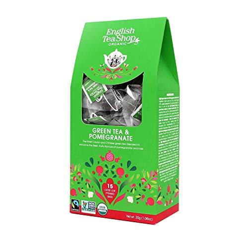 English Tea Shop Organic Green Tea & Pomegranate Tea (15 Pyramids), 30 g