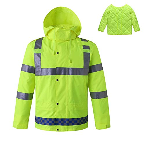 WanuigH Veiligheidsvest, reflecterende veiligheidsjas, winterjas van katoen met uitneembare voering, hoge zichtbaarheid, reflecterende veiligheidsjas