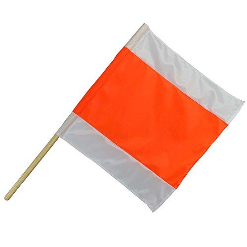 Warnflagge Warnfahne Warnsignal Signalfahne orange / weiß Stoff mit Holzstab 50 x 50 cm