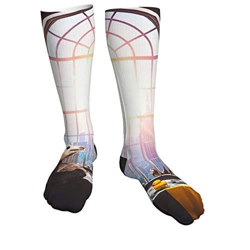 Lässige Socken, 40 cm, Panda, Baden in der Badewanne, Gummiente mit Sonnenschein, 3D-Sport, dick, lange Crew-Socken für Herren und Damen