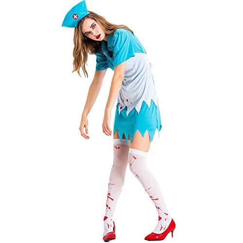 YHX Disfraz de Enfermera de Halloween, nia Adulta, Criada de Hospital anormal de Horror Sangriento, Disfraz de Cosplay Zombie