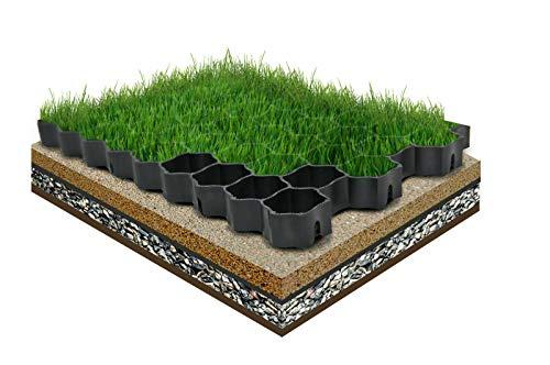 FORTENA befahrbare Rasengitter Platten - 60 x 40 x 4 cm, schwarz, aus hochrobustem Kunststoff, zur Parkplatzbefestigung, Bodenstabilisierung, Rasenbefestigung, belastbar mit PKW bis zu 1000t/m