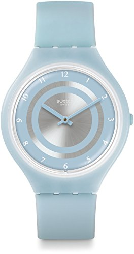 Swatch Unisex Erwachsene Digital Quarz Uhr mit Silikon Armband SVOS100