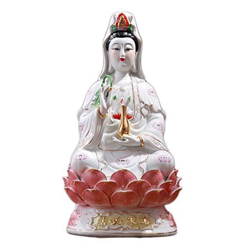 Love lamp Sentado Loto Buda Guanyin Escultura Estatua Templo Estatua de cerámica de la Paz de la meditación bendición y la armonía Estatua decoración del hogar (tamaño : 16 in)