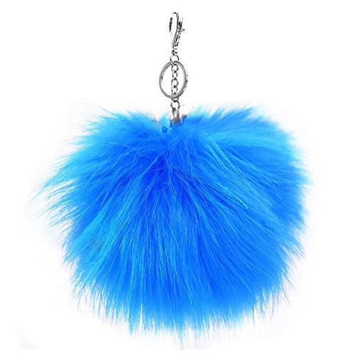 XXL Kunst Fell Bommel Neon Blau Puschel Taschen- Schlüssel Anhänger XB33