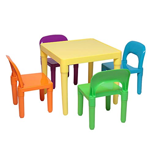 Set of Plastic Table And Chair for Children, One Desk And Four Chairs (50x50x46cm)