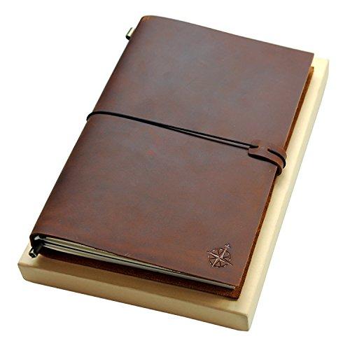 Ledernotizbuch - Großes Nachfüllbar Reisende Notebook - ideal für Schreiben, Dichter, Reisende, Skizzenbuch, 28x19cm Blanko Papier