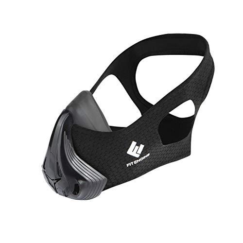 FitEngine Trainingsmaske | zum Training der Atemmuskulatur | stärkere Atemmuskulatur steigert die Performance bei Training & Wettkampf | Größe: S (bis 70Kg) [4 Level einstellbar]