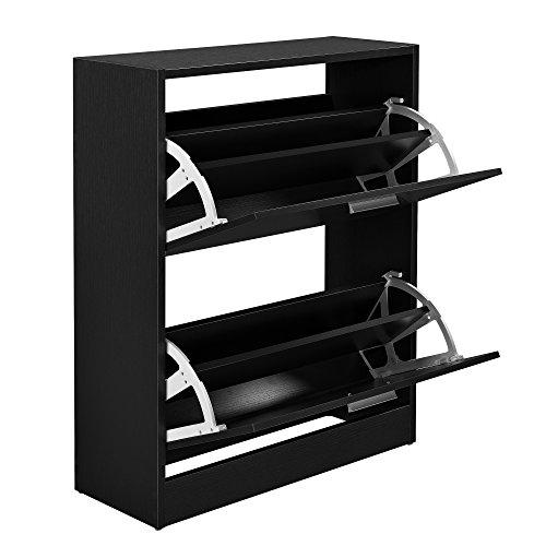 [en.casa] Elegante Schuhablage Schuhschrank Spanplatte mit Melaminbeschichtung Schwarz