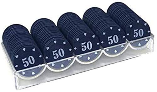 Capacity 100pcs Texas Poker Chips Contando Bingo Juego de fichas Juego de Cartas de Casino Accesorios de conteo Baccarat (Color: 100pcs Chips 50)