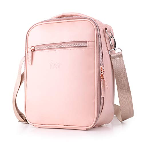 Cute Lunch Box for Girls Waterproof Kids Lunchbox Pink Lunch Bags with Shoulder Strap and Pocket for Teen Girls Insulated Lunch Cooler Bag for School Outdoor Travel